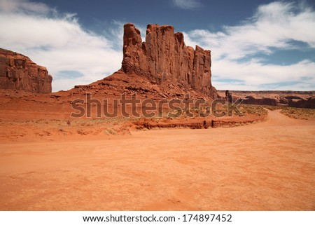 Monument Valley, desert canyon in Utah, USA - stock photo