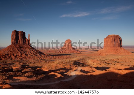 Monument valley during sunset - stock photo