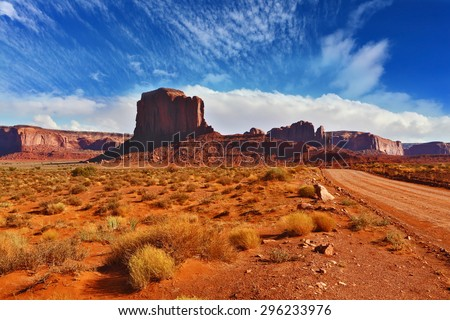 """Monument Valley in the Navajo Indian Reservation. Arizona, USA. The unique red sandstone buttes """"mitts"""" - stock photo"""