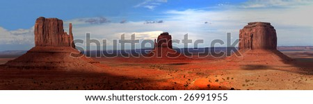 Monument Valley large panorama, Arizona, U.S.A. - stock photo
