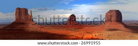 Monument Valley large panorama, Arizona, U.S.A. - stock photo