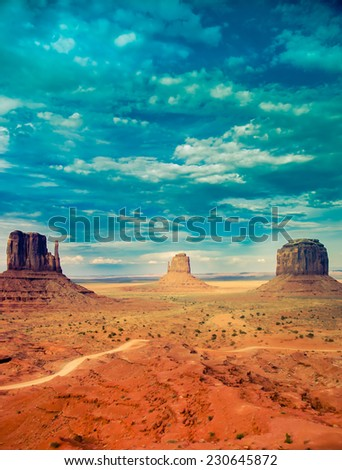 Monument Valley national park with retro processing, desert background - stock photo