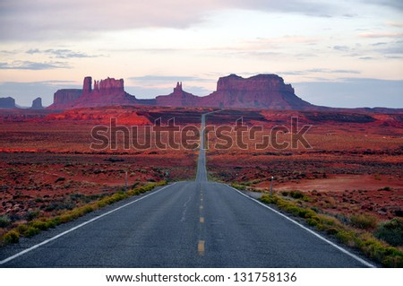 Monument Valley Road Arizona - stock photo