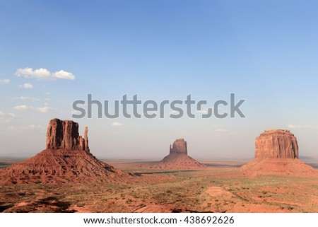 Monument Valley, three rocks with wide sky