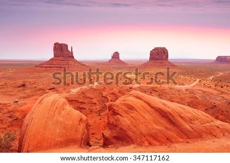 Monument Valley Tribal Park in the Arizona-Utah border, U.S.A. - stock photo