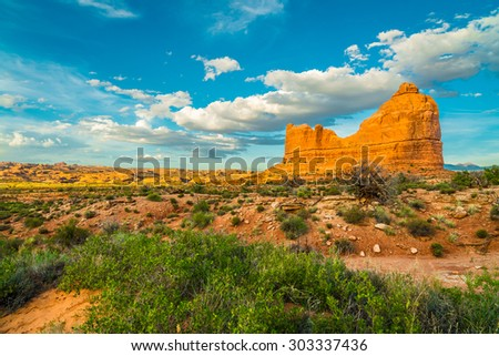 Monument with Petrified Dunes, Arches National Park, UT - stock photo