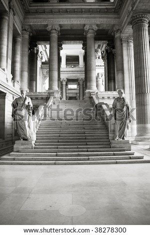 Monumental architecture landmark in Brussels, Belgium. Justice Palace (Palais de Justice). Eclectic and neoclassical style building serves as headquarters of several important law courts. - stock photo