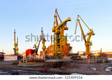 Monumental shipyard cranes in Gdansk, Poland.