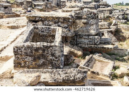 Monumental tomb in the necropolis of  Hierapolis,  Turkey