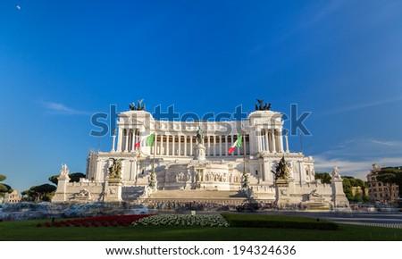 Monumento Nazionale a Vittorio Emanuele II in Rome, Italy - stock photo