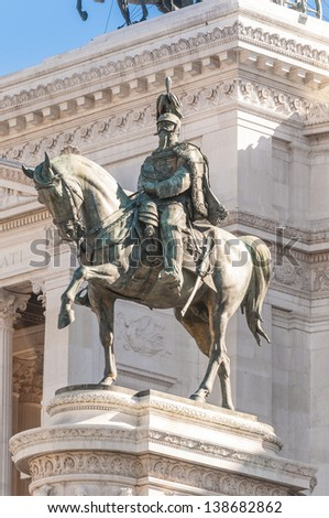 Monumento Nazionale a Vittorio Emanuele II (National Monument to Victor Emmanuel II) or Altare della Patria (Altar of the Fatherland) built in honour of Victor Emmanuel in Rome, Italy. - stock photo