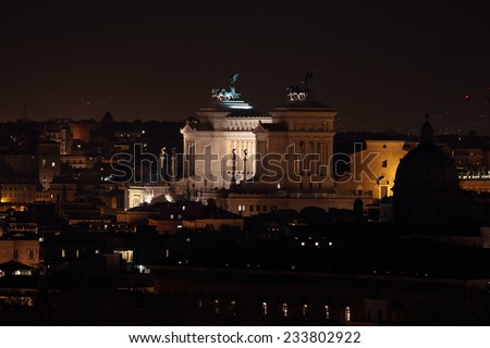 Monumento Nazionale a Vittorio Emanuele II or Altar of the Fatherland at Night, Rome, Italy - stock photo