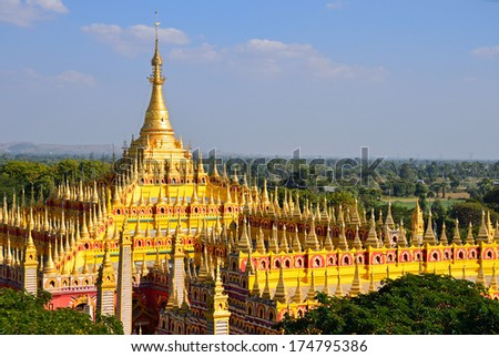 MONYWA, MYANMAR -Â?Â? JANUARY 27, 2014: Thambuddhei Paya is a Buddhist temple which dates from 1303 and was reconstructed in the twentieth century. It is said that it contains over 500000 Buddha images. - stock photo