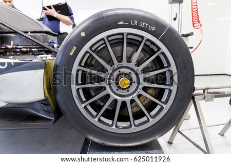 Monza, Italy - April 01, 2017: Oreca 07 - Gibson of Jackie Chan DC Racing Team, driven by H. Tung / O. Jarvis / T. Laurent during the FIA World Endurance Championship Official Test.