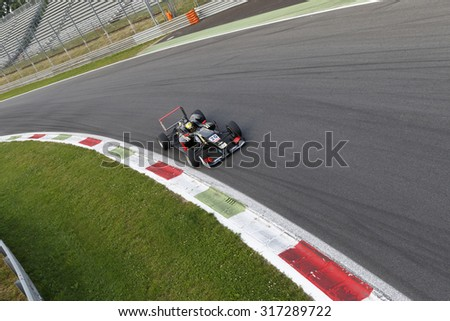 Monza, Italy - May 30, 2015: Dallara F312 Volkswagen of Signature team, driven  by Dorian Boccolacci during the Fia Formula 3 European Championship - Race in Autodromo Nazionale di Monza Circuit