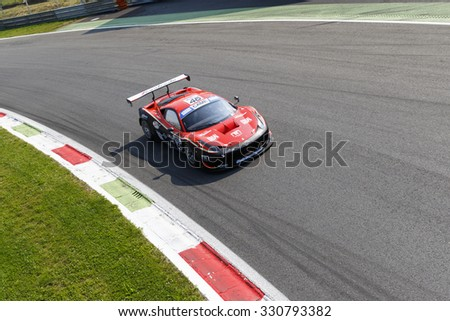 Monza, Italy - May 30, 2015: Ferrari 458 Italia of Ombra srl team, driven  by CIPRIANI Giuseppe - TEDESCHI Felice during the C.I. Granturismo - Race in Autodromo Nazionale di Monza Circuit