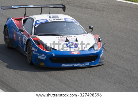 Monza, Italy - May 30, 2015: Ferrari 458 Italia of Ombra team, driven  by FRASSINETTI Alex - BERETTA Matteo during the C.I. Franturismo - Race in Autodromo Nazionale di Monza Circuit