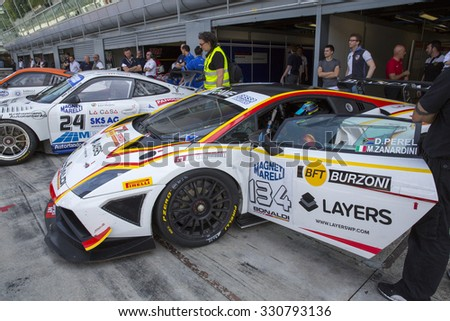 Monza, Italy - May 30, 2015: Lamborghini Gallardo of Bonaldi Motorsport team, driven  by ZANARDINI Mirko - PEREL David During The C.I. Granturismo - Race in Autodromo Nazionale di Monza Circuit