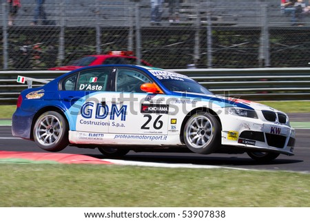 MONZA, ITALY - MAY 22: Stefano D'Aste with his BMW 320si at FIA World Touring Car Championship 2010 in Monza. May 22, 2010 in Monza, Italy - stock photo