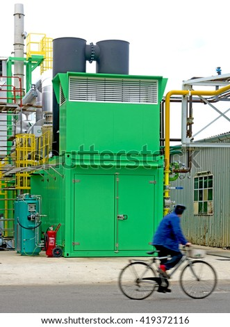 MONZA, ITALY-OCTOBER 01, 2015: factory's central power plant , in Monza.