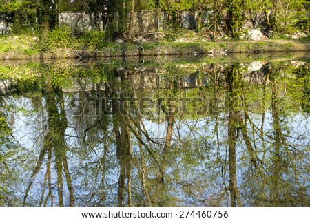 Monza Park (Lombardy, Italy): the Lambro river at spring