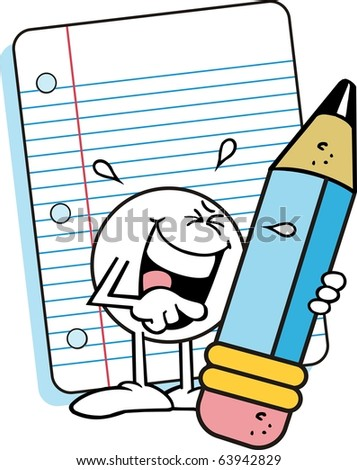 Moodie character, laughing hardily while holding a large blue pencil and standing in front of a sheet of lined note paper - stock photo