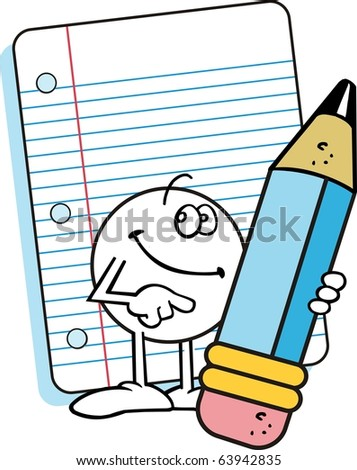 Moodie character , with happy, gentle smile, holding a large blue pencil and standing in front of a sheet of lined note paper
