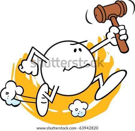 "moodie character, with stern, determined look, rushing forward brandishing a judge's gavel... a ""rush to judgment"""
