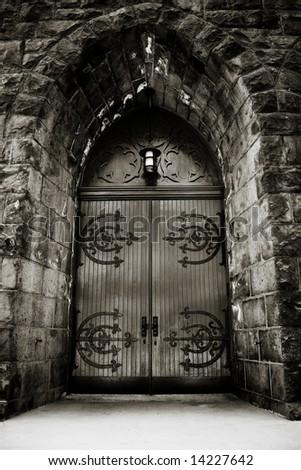 Moody Church Door - stock photo