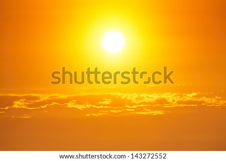 Moody sky - bright sunset - back lit - stock photo