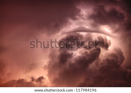 Moody sky with lightnings