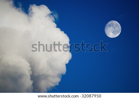 moon and clouds on the blue sky