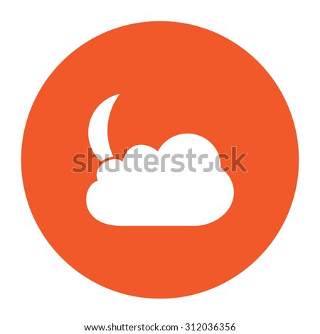 Moon and clouds. Simple flat white icon in the orange circle. illustration symbol - stock photo