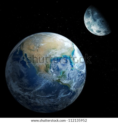 Moon and Earth - stock photo