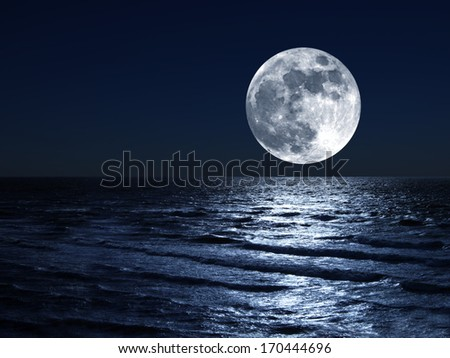 moon and his reflection in water - stock photo