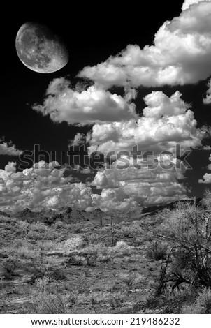 Moon and landscape in the Arizona desert - stock photo