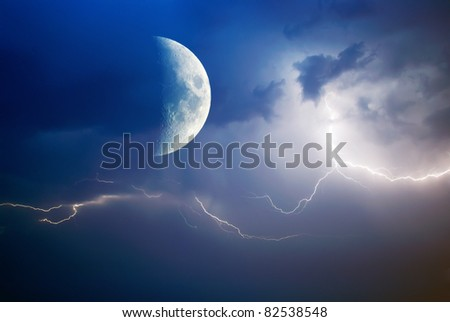 Moon and lightning. Sky composition. - stock photo