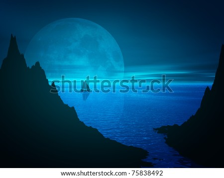 Moon and reflection in night sea water. Remote sailboat on horizon. 3d rendered seascape