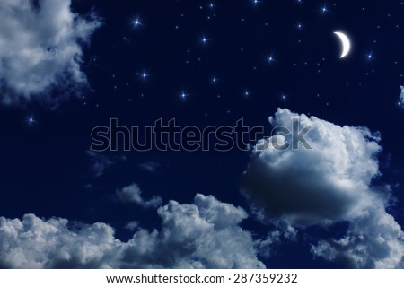 Moon and star at beautiful night - stock photo