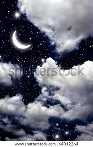moon and star in The night sky. - stock photo