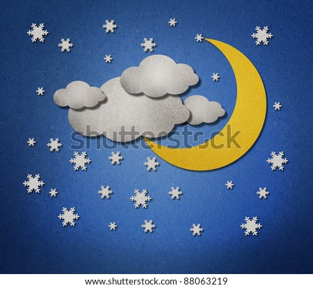 moon and star Weather  from paper background recycled - stock photo