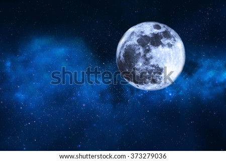 moon and stars - stock photo