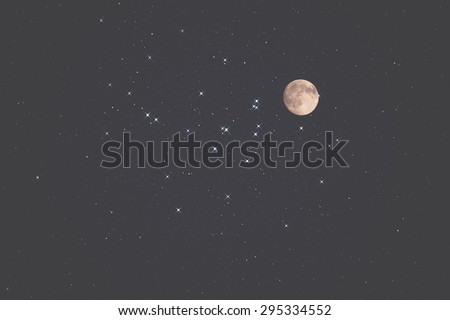 Moon and stars on a black background. Mosaic taken through my telescope. - stock photo