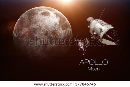 Moon - Apollo spacecraft. This image elements furnished by NASA. - stock photo
