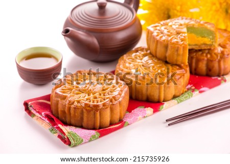 Moon cake and tea,food and drink for Chinese mid autumn festival. Chinese famous food, gift for chinese in mid autumn festival - stock photo