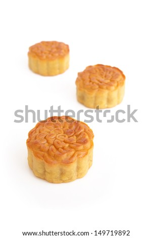 moon cake on white background - stock photo