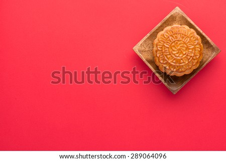 Moon cakes for the Chinese Mid-autumn festival.  angle view from above - stock photo