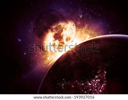 Moon Collision - Elements of this Image Furnished by NASA  - stock photo