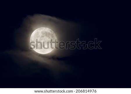 Moon full on black sky background
