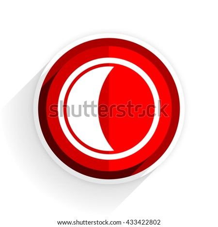 moon icon, red circle flat design internet button, web and mobile app illustration